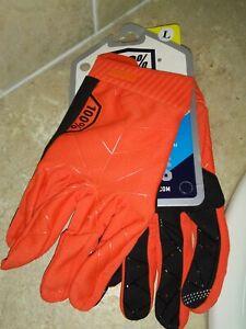 100% Brisker Off-road Riding Racing Motocross ATV gloves size L Orange