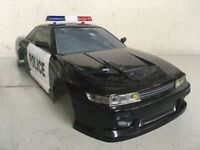 YOKOMO 1/10 RC NISSAN 180SX 240SX S13 POLICE CAR CUSTOM PAINTED BODY - LED LAMP