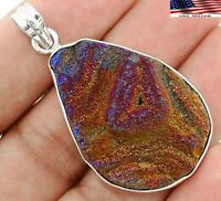Natural Titanium Druzy 925 Solid Sterling Silver Pendant Jewelry KA3