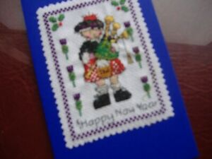 Completed cross stitch hand made card Happy New Year Scot in kilt