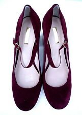 Louise et Cie 9 / 39 Burgundy Berry Mary Jane Chunky Salesman Sample High Heels