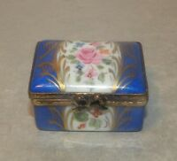 New Rectangular Blue and Gold, Limoges Box number 18, Porcelain Limoges Box NEW