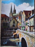 Vintage Old Postcard Posted 1955 En Beauce Chartes Cathedral Street France River