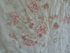 New listing Vintage Cotton barkcloth era Drapes French Country Pink Roses on Creamy White