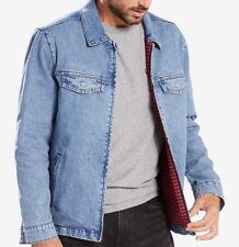 Levi's Men's Big & Tall Denim Front-zip Plaid Lined Trucker Jacket - XXXL