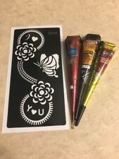 USA SELLER!! Henna Stencil Kit DYI #S208 + 3 Multicolored Henna Cones