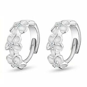 S925 Flower Studs Women Girls Round Hoop Earrings Sleeper Huggie Wedding Silver