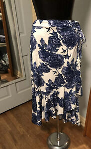 BEAUTIFUL Lularoe M Bella Wrap Skirt NWT Blue White Large Peonies Swim Cover