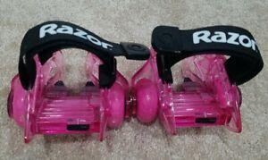 Pair of 2 Pink Razor Jetts DLX Heel Wheels Light Up Wheels