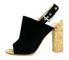 GIANVITO ROSSI $695 Black Suede MARCY Cork Heel Slingbacks Sandals 38