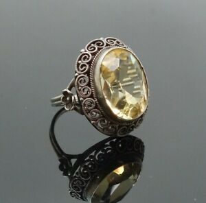 Antique c1900 Ornate Silver Filigree Large Faceted Citrine Ring Size 5