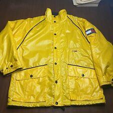 Vintage Tommy Jeans Hilfiger Rain Coat L Yellow Lotus Sports Logo Vtg Jacket