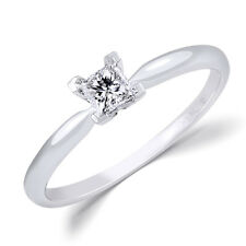 14k White Gold 0.24 CT CERTIFIED Natural Diamond Engagement RING Princess Cut