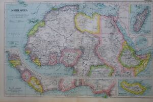 1919 Karte North Africa Madagascar Madeira Abessinien Tripoli Sahara Gelb Inseln