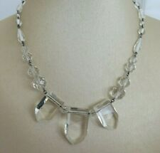 Clear Glass Necklace (Sh75) French Art Deco Unusual