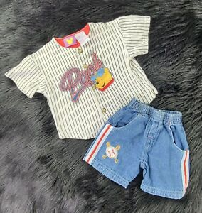 Vintage Boys Disney Winnie the Pooh Baseball Set Size 2T Red Blue Shipped Prompt