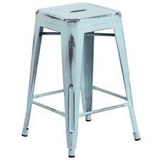 Flash Furniture 24'' High Backless Distressed Green-Blue Metal...