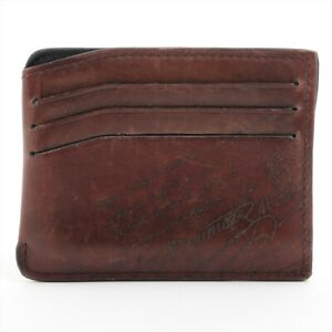 Berluti Calligraphy Leather Pass Case Brown