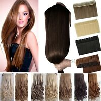 UK Lady 3/4 full head Clip in Clip on hair extensions Curly Straight Style gn21