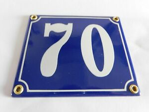 Old French Blue Enamel Porcelain Metal House Door Number Street Sign / Plate 70