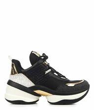MICHAEL KORS Women's Shoes Sneakers Black Leather NIB Authentic 6 6.5 7 7.5 8 8.