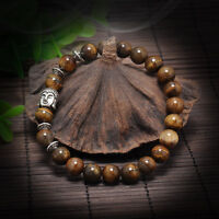 Men Women Lava Rock Bracelet brown Natural Gemstone Beads Buddha Head Beaded