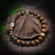 Men Women Lava Rock Bracelet Natural Gemstone brown Beads Buddha Head Beaded