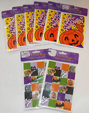 New 8 Packages of 24 Favor Bags Halloween Party Supplies Lot Jack-O-Lantern Bats
