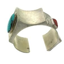 Native American Sterling Silver Turquoise & Coral Bracelet Cuff