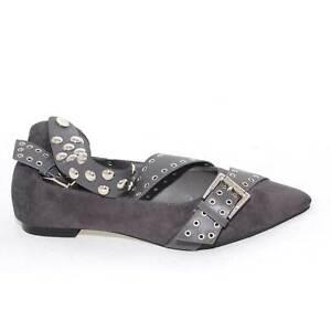 Scarpe donna basse art.443 ballerine grigio in camoscio con doppia fibbia moda c