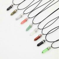 Gemstone Pendant Necklace Natural Quartz Crystal Point Chakra Healing Stone Yc