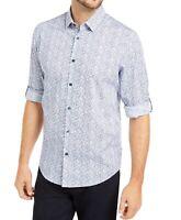 Alfani Mens Shirt White Blue Size Medium M Button Down Abstract Print $65 #097
