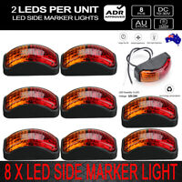 8X 2LED Clearence Lamp Indicators Red Amber Marker Light Rear Truck Trailer AU