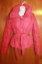 HOLLISTER Ladies' XS WINTER COAT (Red w/ Down Filling; Zipper, Snaps, Belt) EUC