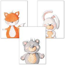 Kinderposter Set #12 Tierfreunde Fuchs Hase Bär bunte Tiere Poster Tiere | DI...