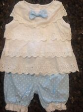 Baby girls blue polka dot and eyelet lace outfit. Sz 9 month.