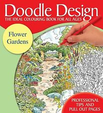 DOODLE DESIGN __ FLOWER GARDENS __ BRAND NEW ADULT COLOURING BOOK __ RED COVER