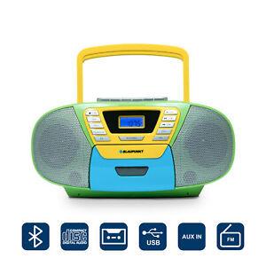 Blaupunkt Kinder CD Spieler Radio Player Kassetten Rekorder Bluetooth USB bunt