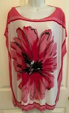 Isabella Rodriguez  Women's Top - Pinks/White Floral - Dolman Sleeve - 1X - EUC