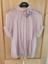 Phase Eight Silk Blouse L 12 14 Victorian Hippie Lagenlook Boho Pink High Neck