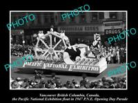 OLD HISTORIC PHOTO OF VANCOUVER CANADA, PNE PARADE, 1947 PACIFIC NATIONAL FLOAT