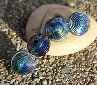 Peacock Orbits - Handmade Glass Lampwork Coin Beads - elasia SRA MTO