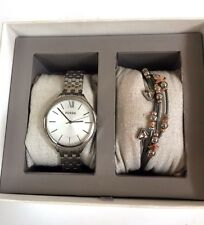 NWT Fossil Women's Silver Tone Watch & Bracelet Set BQ3079 3 Pieces MSRP $155