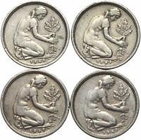 Bundesrepublik Deutschland - KONVOLUT - 4 Münzen - 50 Pfennig 1949 DFGJ - LOT