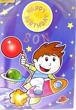 """Monkey or Space Rocket Themed """" SON """" Birthday Card"""