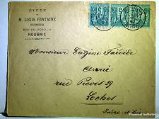 Sage  sur lettre oblitération  ROUBAIX  LOCHES    - 1887  201ca116