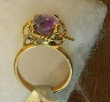1 CM oval AMETHYST 14K yellow Gold ropes 4.5g Estate Ring 6 1/2 can resize