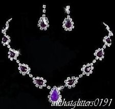 Stunning Purple Tear Drop Cascading Necklace & Earring Set With Crystals