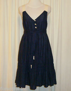 """BEAUTIFUL TROVATA BLUE COTTON DRESS """"JERIBACAO"""" M (AUS 12)"""