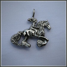 Horse & Rider Pendant Stainless Steel Moon Rider Dragons Fly Design